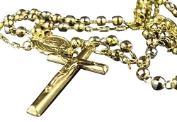 Tradesy - Tri Gold Rosary Diamond Cut Necklace