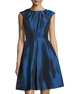 Chetta B  - Pleated Cap-Sleeve Fit-and-Flare Dress