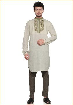 utsavfashion - Light Cream Pure Khadi Kurta
