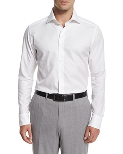 Ermenegildo Zegna  - Solid Long-Sleeve Sport Shirt