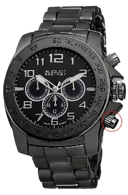 August Steiner  - Men's Swiss Quartz Multifunction Tachymeter Bracelet Watch