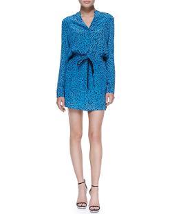 Robert Rodriguez  - Silk Chalk-Print Tie-Waist Long-Sleeve Dress