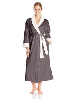 Natori - Sherpa Trim Charmeuse Robe