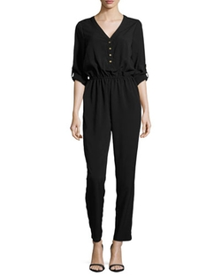 Jb By Julie Brown - Long-Sleeve Chiffon Jumpsuit