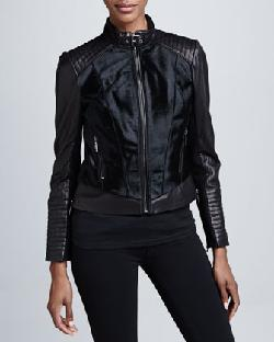 BCBG  - Mixed-Media Leather & Fur Moto Jacket