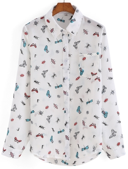 Romwe - Lapel Insect Print Blouse