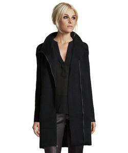 Vince  - Black Wool Knit Asymmetrical Zip Scuba Coat