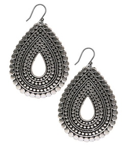 Lucky Brand - Silvertone Tribal Teardrop Earrings