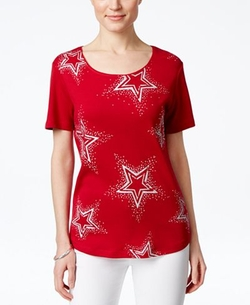Karen Scott - Embellished Star-Print T-Shirt