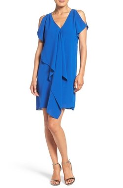 Adrianna Papell  - Cold Shoulder Draped Shift Dress