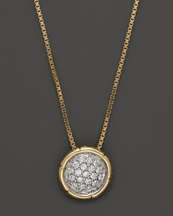 John Hardy - Pave Small Round Pendant Necklace
