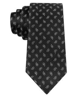 Black Brown 1826  - Silk Paisley Print Tie