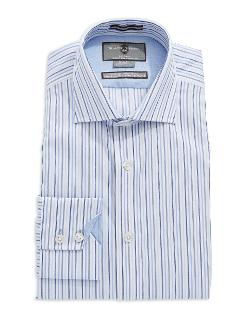 Black Brown 1826  - Cotton Slim Fit Striped Dress Shirt