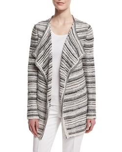 St. John Collection  - Belessa Striped Side-Slit Cardigan