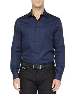 Armani Collezioni   - Textured Solid Dress Shirt