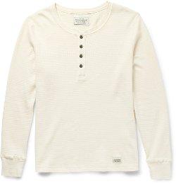 Neighborhood   - Waffle-knit Cotton Henley T-shirt