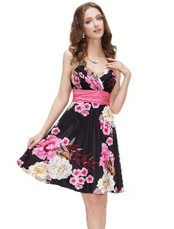 Ever Pretty  - Floral Printed Spaghetti Strap Dress
