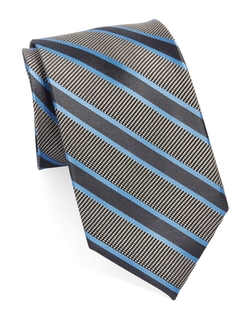 Black Brown 1826 - Striped Silk Tie