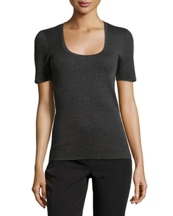 Michael Kors Collection  - Cashmere Short-Sleeve Herringbone Top