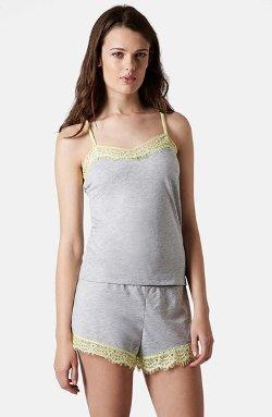 Topshop  - Lace Trim Short Pajamas