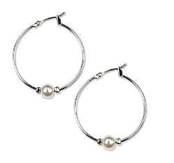 Anne Klein - Silver-Tone White Plastic Pearl Hoop Earrings