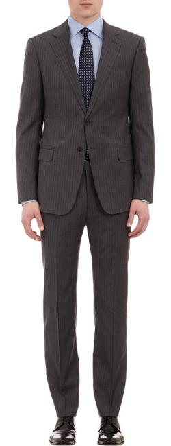 Armani Collezioni  - Stripe Worsted Wool Sartorial Two-Button Suit