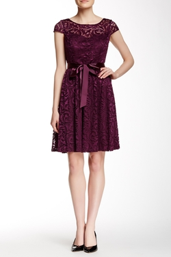 Marina  - Ribbon Belt Lace Cocktail Dress