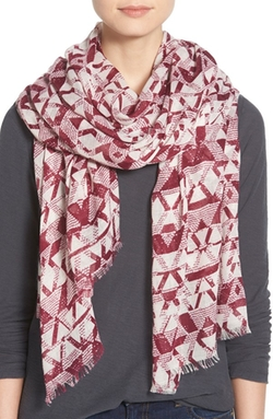 Modena  - Abstract Woodblock Print Scarf