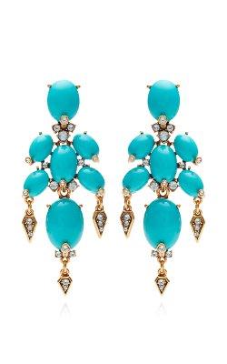 Oscar De La Renta  - Cabochon Stone And Crystal Earrings