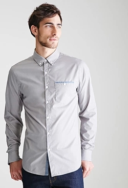 21 Men - Chambray-Trimmed Shirt