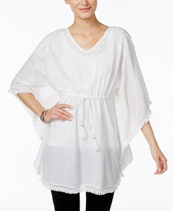 Style & Co.  - Cinched-Waist Embroidered Poncho