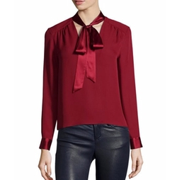 Alice + Olivia Irma  - Satin-Trim Necktie Top