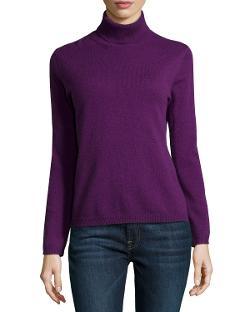 Neiman Marcus  - Cashmere Turtleneck Pullover Sweater