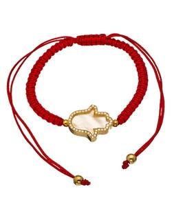 Belair  - Pearl Hamsa Red Macrame Bracelet