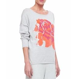 Joan Vass - Sequined Floral Dolman-Sleeve Sweater