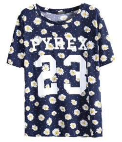 Sheinside - Navy Short Sleeve Daisy 23 Print T-shirt