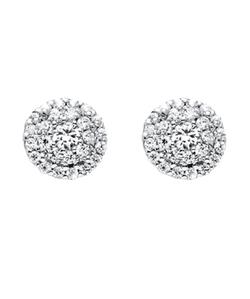 Palmbeach Jewelry  - Round Diamond Cluster Halo Stud Earrings