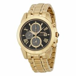Seiko  - Solar Chronograph Black Dial Gold-Tone Stainelss Steel Mens Watch