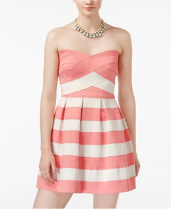 B Darlin  - Striped Strapless Fit & Flare Dress