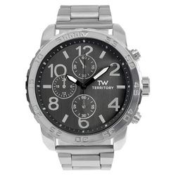 Territory - Round Face Polished Metal Link Watch