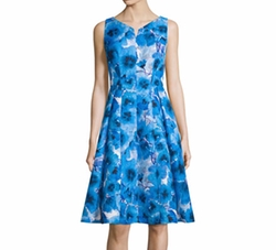 Carmen Marc Valvo  - Sleeveless Floral-Print Fit & Flare Dress