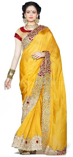 Rajwadi - Refreshing Yellow color Crepe Silk Saree