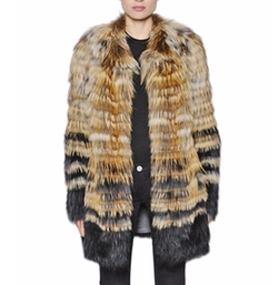 Yves Salomon - Stripes Fox Fur Coat