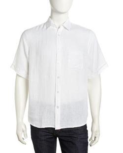 Neiman Marcus  - Short-Sleeve Linen Button-Down Shirt