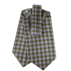 The Perfect Necktie  - Gray - Green - Pink Silk Ascot Tie