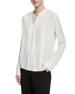 Vince  - Pleated Mandarin-Collar Blouse