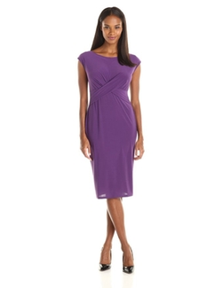 Tiana B - Solid Cap-Sleeve Dress