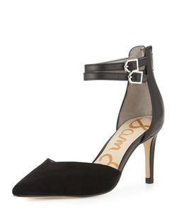 Sam Edelman  - Orianna Ankle-Strap Suede/Leather Pump