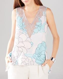 BCBGMAXAZRIA  - Lenore Lace Floral Print Top