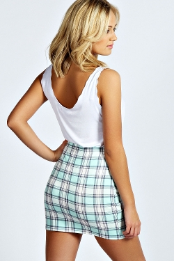 Marcie Pastel  - Check Bodycon Mini Skirt